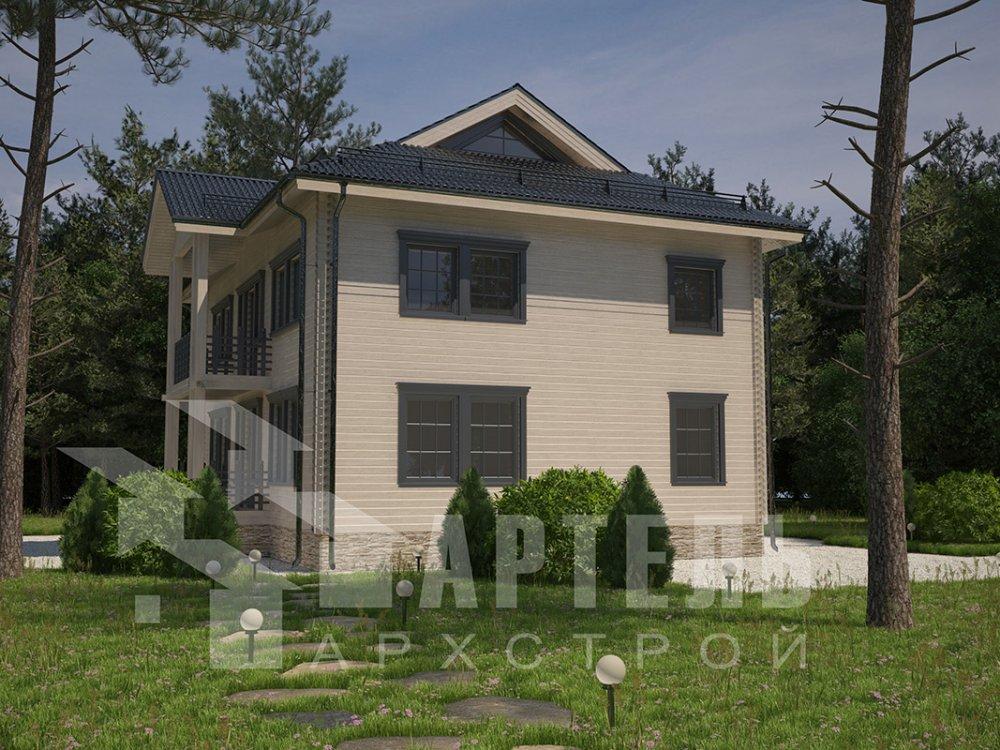 двухэтажный дом из профилированного бруса площадью свыше 200 кв. м. с  балконом, проект Вариант 9 Т фотография 4545