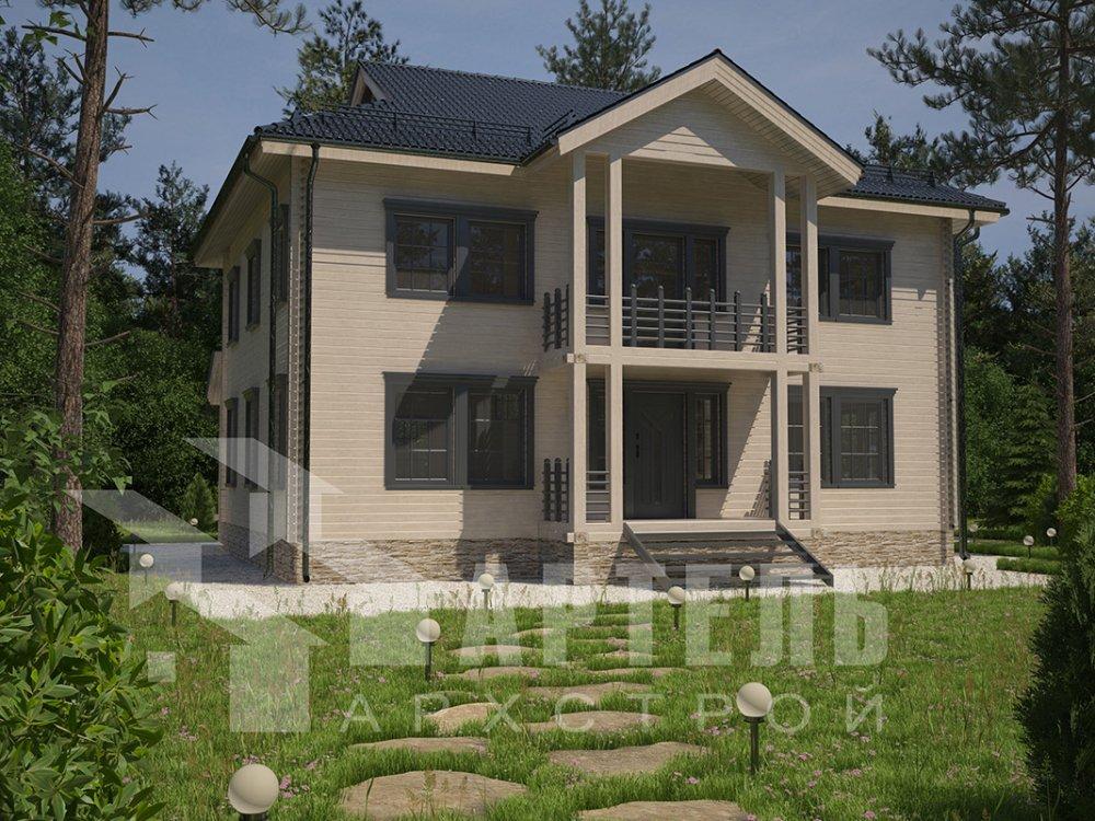 двухэтажный дом из профилированного бруса площадью свыше 200 кв. м. с  балконом, проект Вариант 9 Т фотография 4547