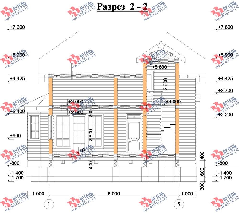 двухэтажный дом из профилированного бруса камерной сушки площадью от 100 до 150 кв. м. с  мансардой, эркером, проект Вариант 2 фотография 2537