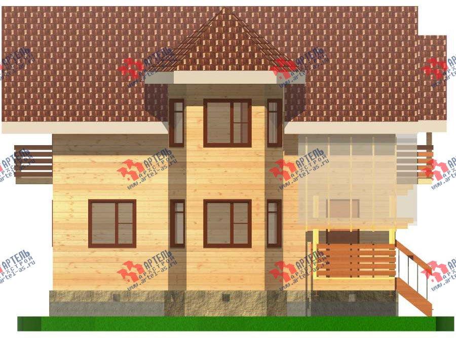 двухэтажный дом из бруса площадью от 100 до 150 кв. м. с  балконом, мансардой, эркером, проект Вариант 6.2 К фотография 2784