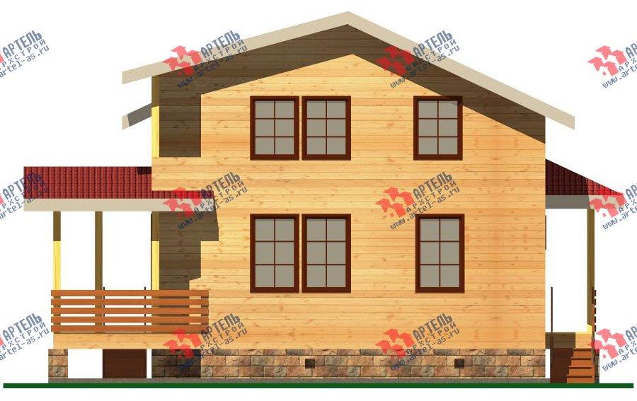 двухэтажный дом из бруса площадью от 100 до 150 кв. м. с  балконом, мансардой, террасой, проект Вариант 8 М фотография 2375