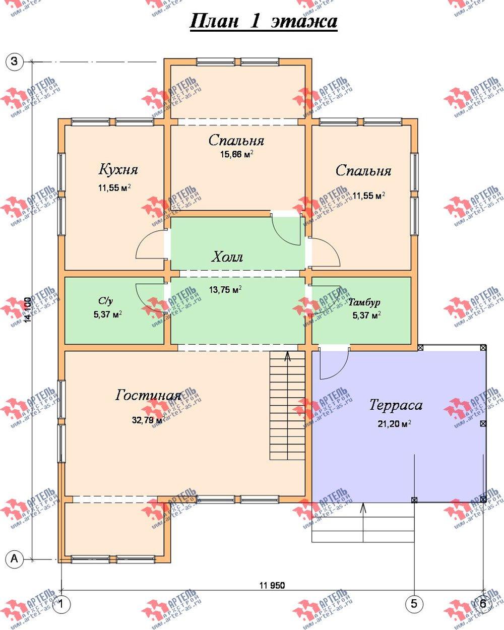двухэтажный дом из бруса площадью от 150 до 200 кв. м. с  мансардой, террасой, эркером, проект Вариант 14 В фотография 2343