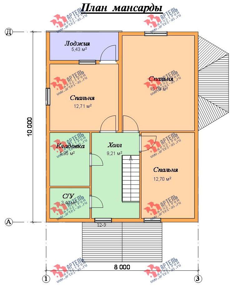 двухэтажный дом из профилированного бруса площадью от 100 до 150 кв. м. с  балконом, мансардой, эркером, проект Вариант 10 И фотография 2355