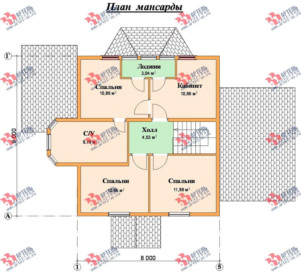 двухэтажный дом из бруса площадью от 150 до 200 кв. м. с  балконом, мансардой, террасой, эркером, проект Вариант 8 С фотография 2388