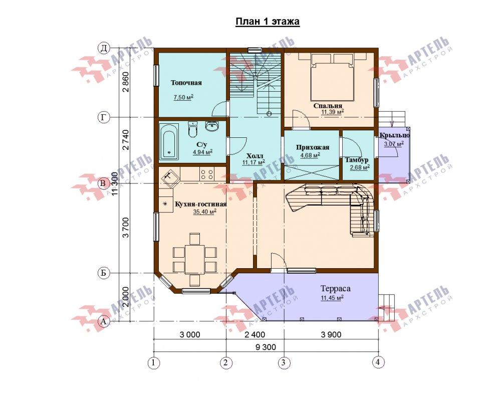 одноэтажный дом из профилированного бруса площадью от 150 до 200 кв. м., проект Вариант 9.3В фотография 5641