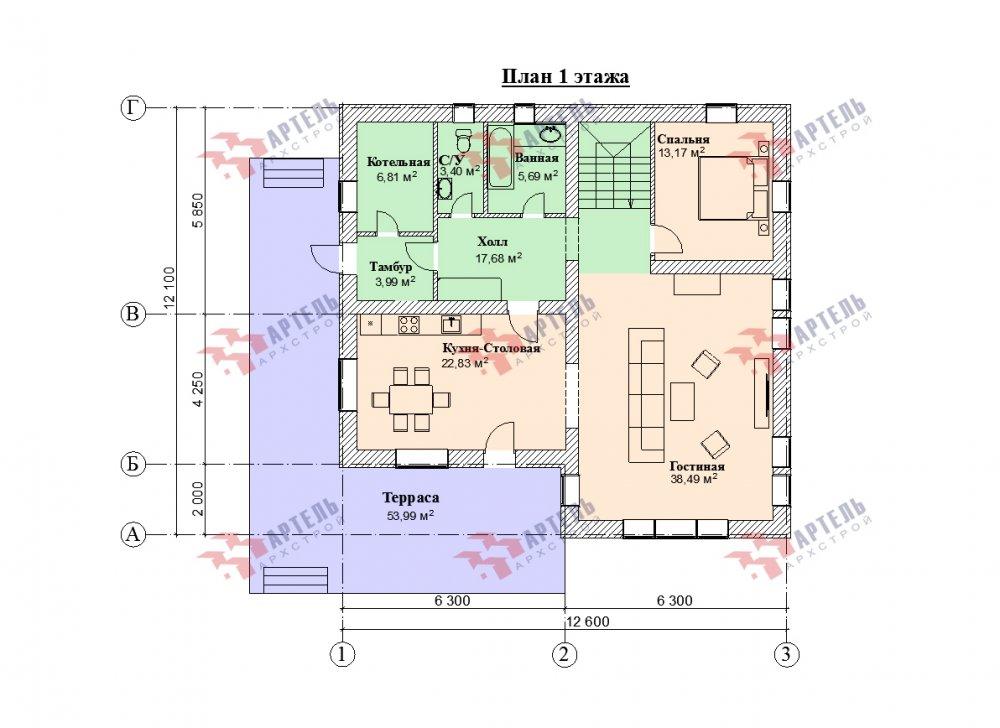 дом омбинированные дома, проект Вариант 12.6 А Комбинированный фотография 5529
