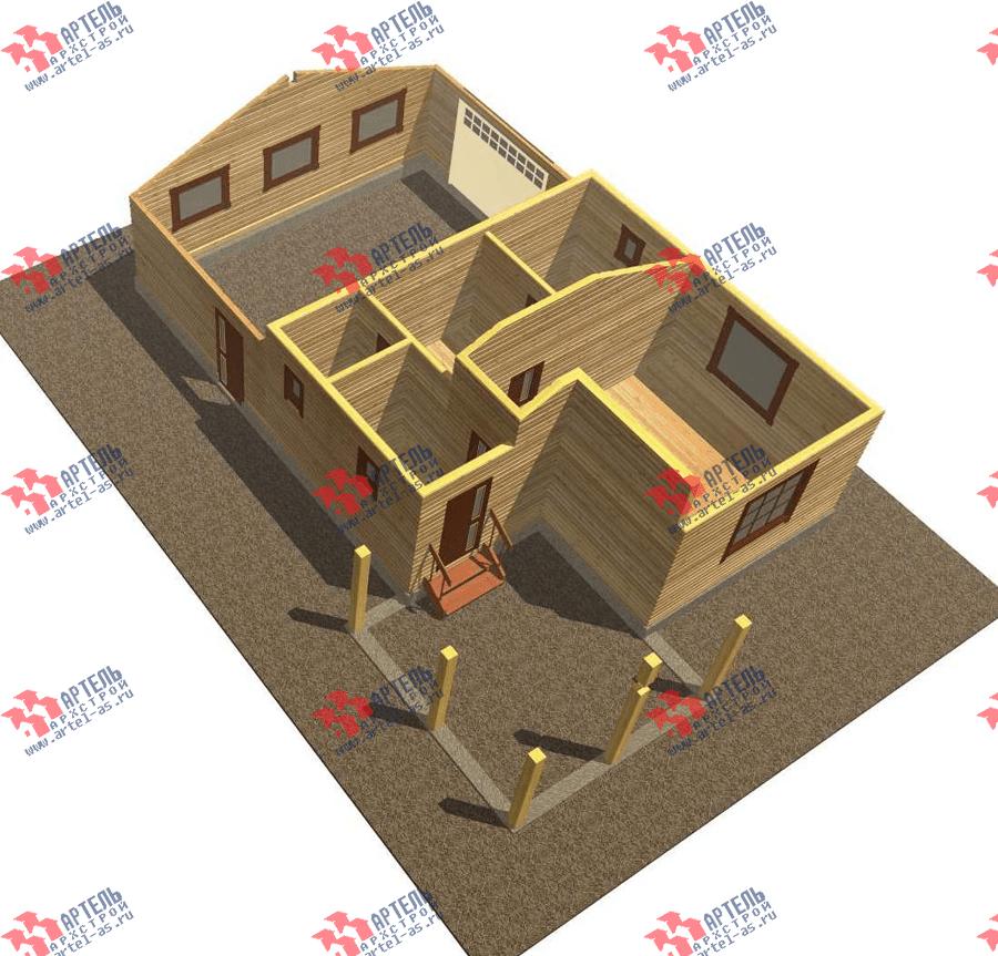 одноэтажный дом из профилированного бруса площадью до 100 кв. м. с  гаражом, террасой, проект Вариант 7.8 Б фотография 3531