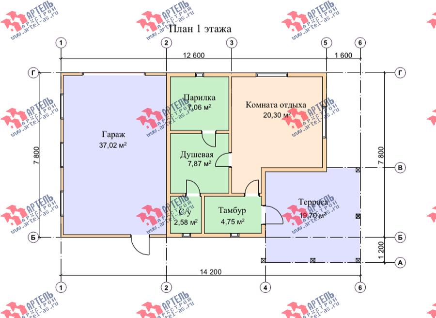 одноэтажный дом из профилированного бруса площадью от 100 до 150 кв. м., проект Вариант 7.8 Б фотография 3542