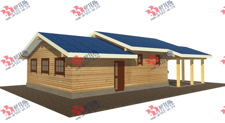 одноэтажный дом из профилированного бруса площадью до 100 кв. м. с  гаражом, террасой, проект Вариант 7.8 Б фотография 3533