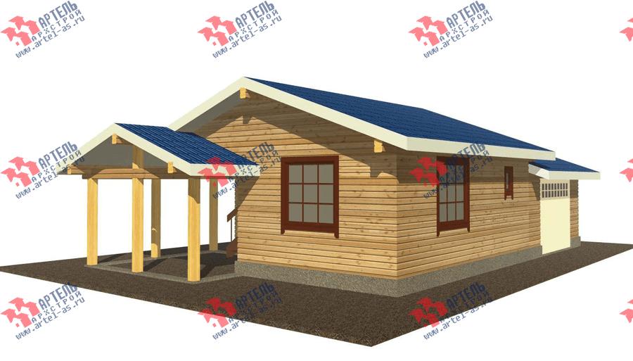 одноэтажный дом из профилированного бруса площадью до 100 кв. м. с  гаражом, террасой, проект Вариант 7.8 Б фотография 3535