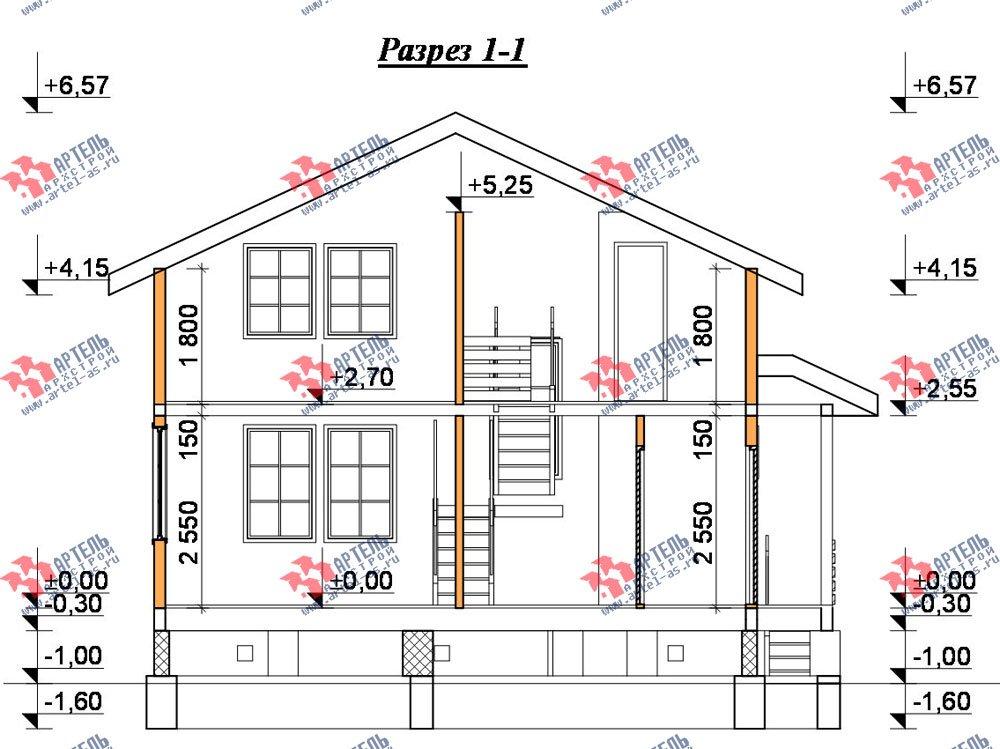 двухэтажный дом из бруса площадью от 100 до 150 кв. м. с  балконом, мансардой, террасой, проект Вариант 8 М фотография 2378