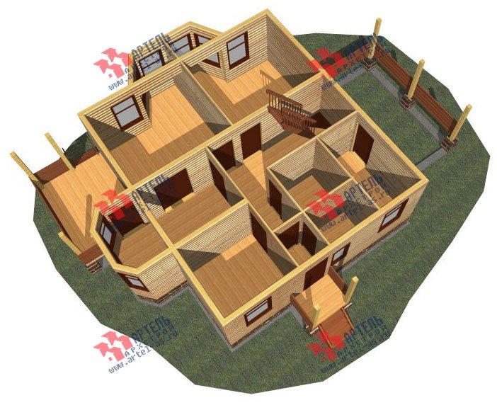 двухэтажный дом из бруса площадью от 150 до 200 кв. м. с  балконом, мансардой, террасой, эркером, проект Вариант 8 С фотография 2381