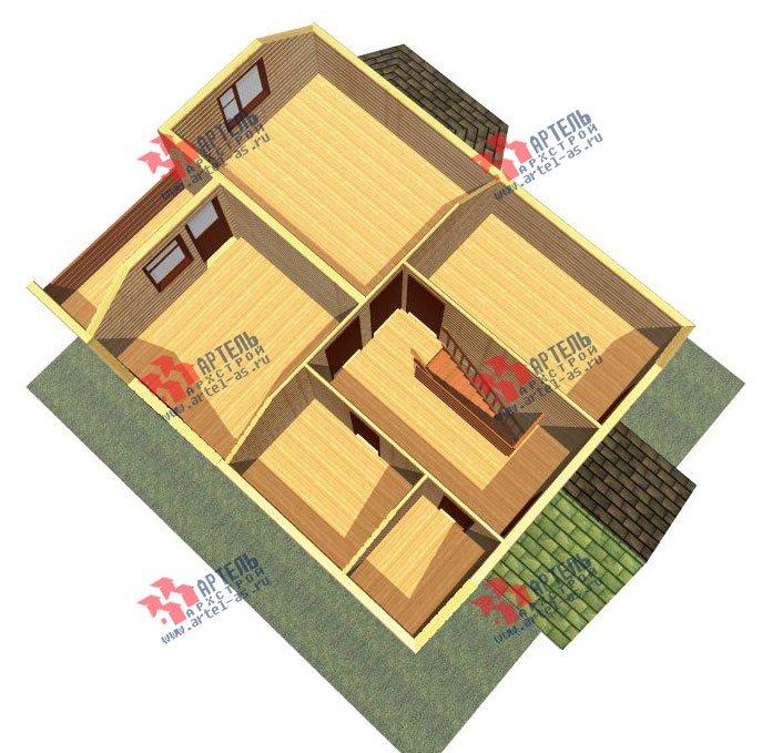 двухэтажный дом из профилированного бруса площадью от 100 до 150 кв. м. с  балконом, мансардой, эркером, проект Вариант 10 И фотография 2349