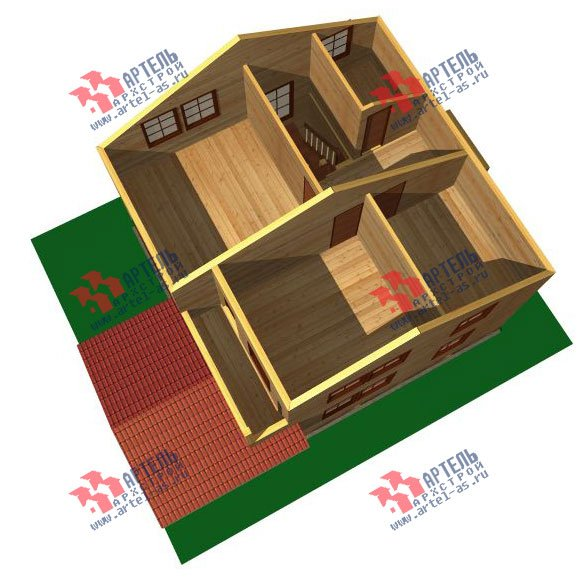 двухэтажный дом из бруса площадью от 100 до 150 кв. м. с  балконом, мансардой, террасой, проект Вариант 8 М фотография 2371