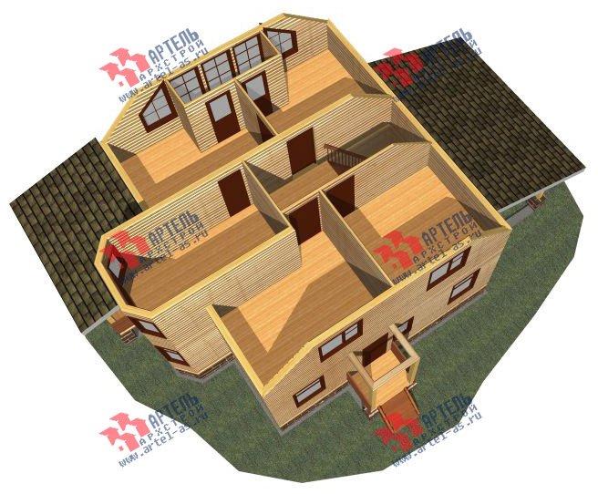 двухэтажный дом из бруса площадью от 150 до 200 кв. м. с  балконом, мансардой, террасой, эркером, проект Вариант 8 С фотография 2382