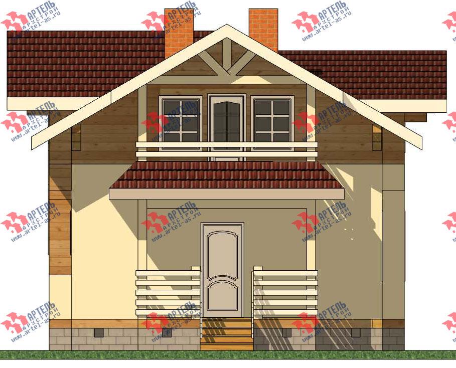 Дом каркасный с крыльцом и террасой, проект кв-9.