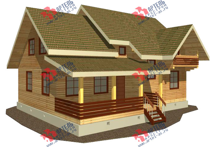 Дом из бруса, с балконом и террасой, проект 12.4 а.