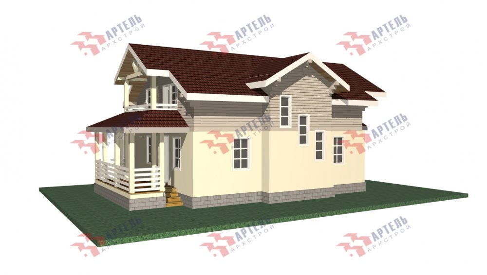 двухэтажный дом из профилированного бруса площадью от 150 до 200 кв. м., проект Вариант 10.3Д фотография 5429