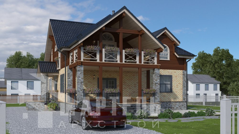 двухэтажный дом омбинированные дома площадью свыше 200 кв. м., проект Вариант 12.8М Камень и Комбинированный фотография 5284