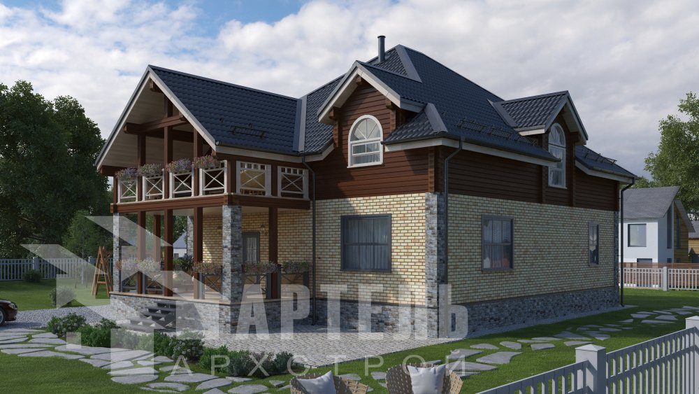 двухэтажный дом омбинированные дома площадью свыше 200 кв. м., проект Вариант 12.8М Камень и Комбинированный фотография 5285