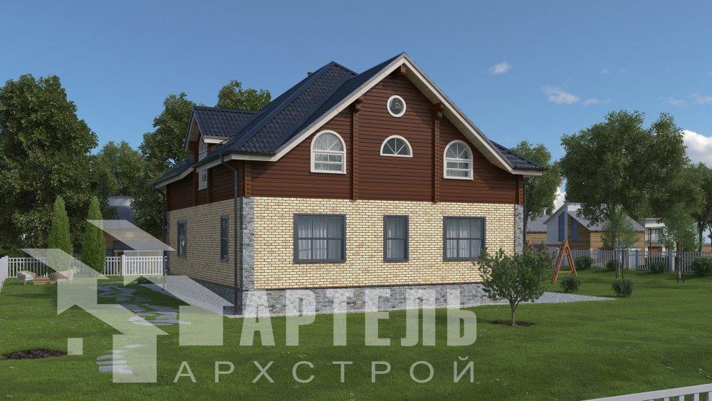 двухэтажный дом омбинированные дома площадью свыше 200 кв. м., проект Вариант 12.8М Камень и Комбинированный фотография 5286