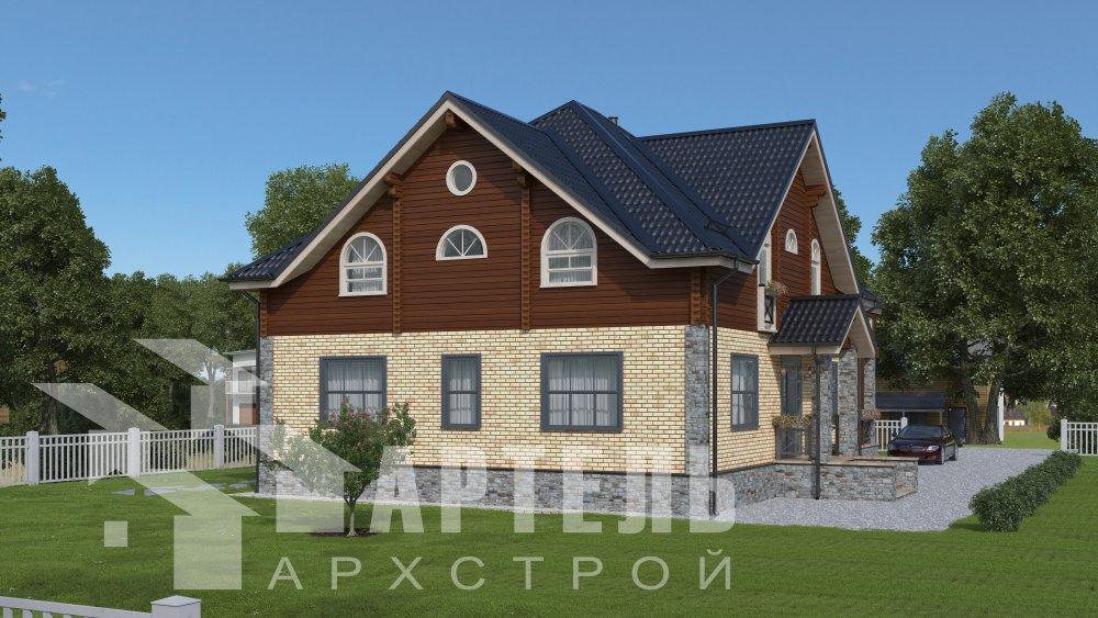 двухэтажный дом омбинированные дома площадью свыше 200 кв. м., проект Вариант 12.8М Камень и Комбинированный фотография 5287