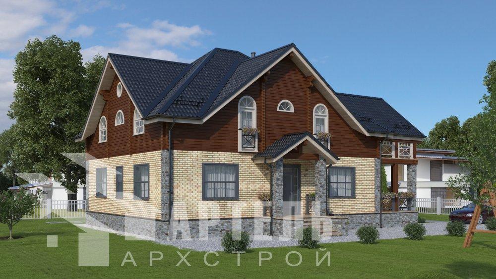 двухэтажный дом омбинированные дома площадью свыше 200 кв. м., проект Вариант 12.8М Камень и Комбинированный фотография 5288