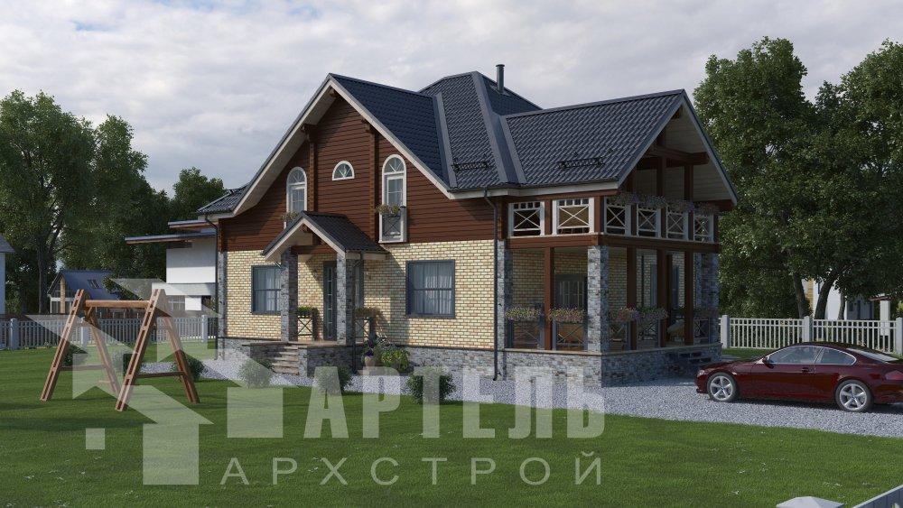двухэтажный дом омбинированные дома площадью свыше 200 кв. м., проект Вариант 12.8М Камень и Комбинированный фотография 5289