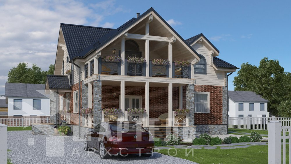 двухэтажный дом омбинированные дома площадью свыше 200 кв. м., проект Вариант 12.8М Камень и Комбинированный фотография 5290