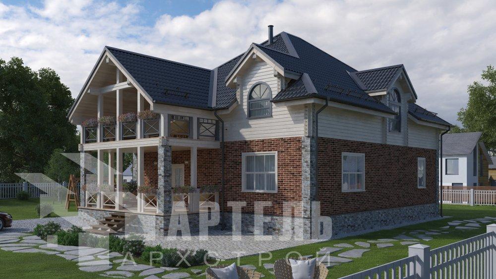 двухэтажный дом омбинированные дома площадью свыше 200 кв. м., проект Вариант 12.8М Камень и Комбинированный фотография 5291