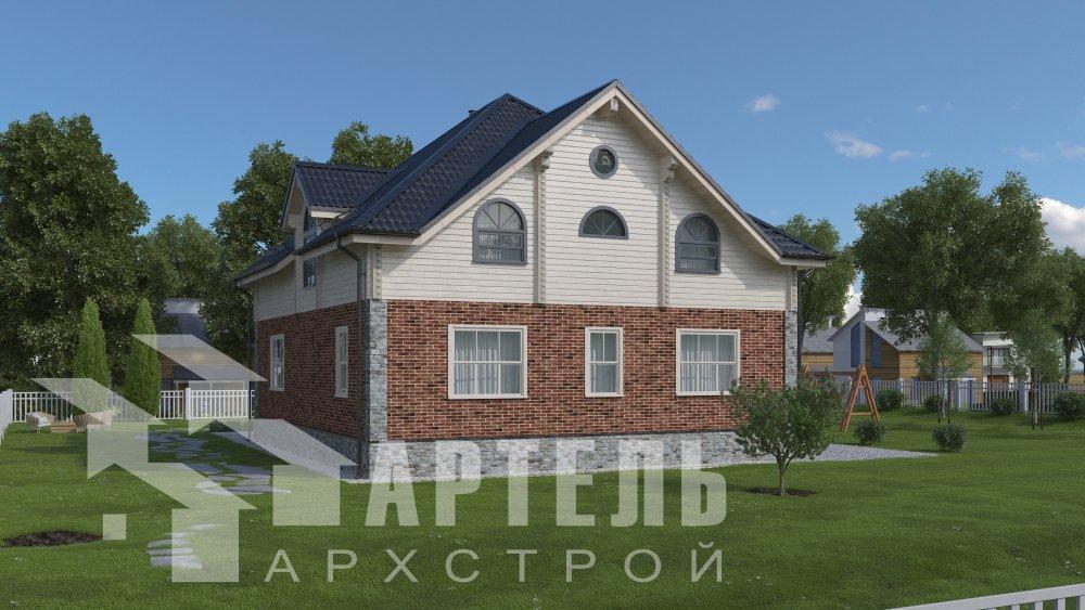 двухэтажный дом омбинированные дома площадью свыше 200 кв. м., проект Вариант 12.8М Камень и Комбинированный фотография 5292