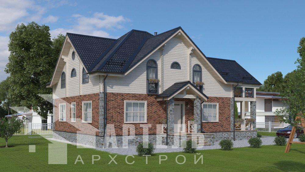 двухэтажный дом омбинированные дома площадью свыше 200 кв. м., проект Вариант 12.8М Камень и Комбинированный фотография 5294