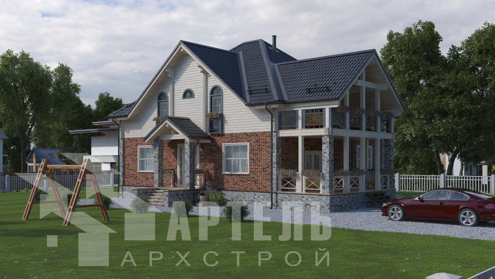 двухэтажный дом омбинированные дома площадью свыше 200 кв. м., проект Вариант 12.8М Камень и Комбинированный фотография 5295