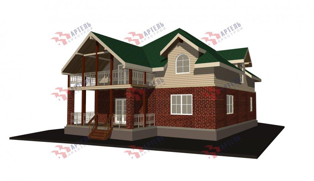 двухэтажный дом омбинированные дома площадью свыше 200 кв. м., проект Вариант 12.8М Камень и Комбинированный фотография 5296