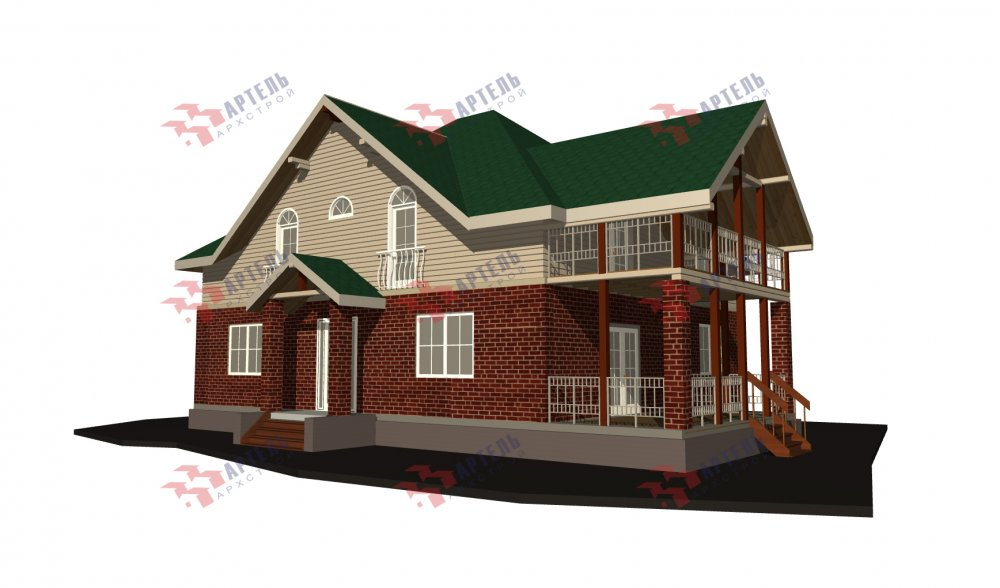 двухэтажный дом омбинированные дома площадью свыше 200 кв. м., проект Вариант 12.8М Камень и Комбинированный фотография 5297