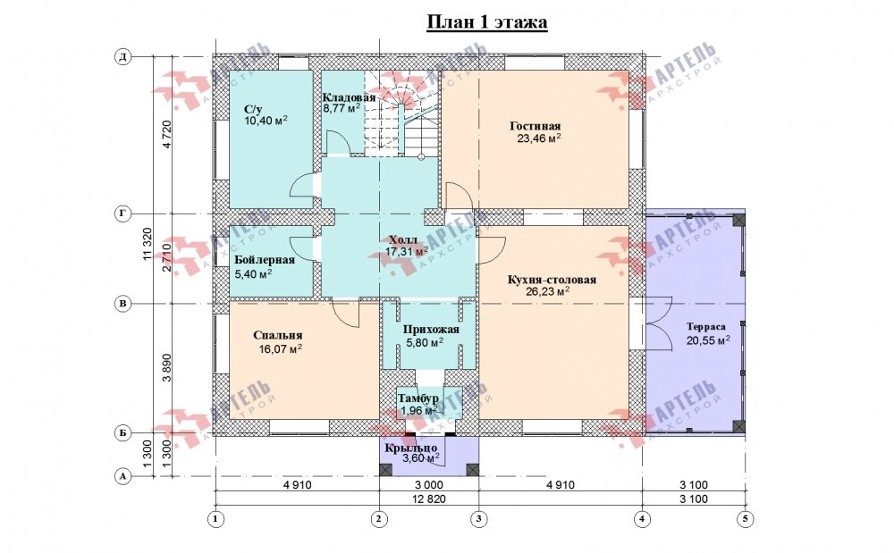 двухэтажный дом из профилированного бруса площадью свыше 200 кв. м., проект Вариант 12.8М фотография 5304