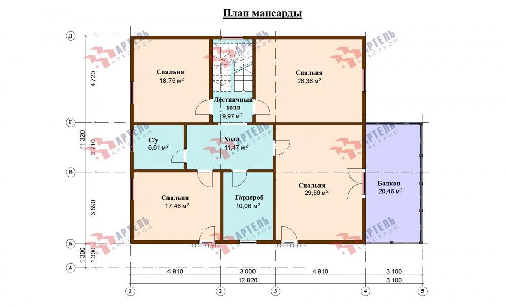 двухэтажный дом из профилированного бруса площадью свыше 200 кв. м., проект Вариант 12.8М фотография 5305