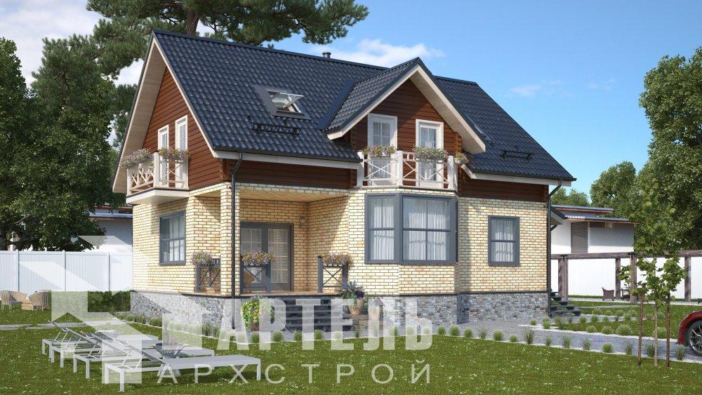 двухэтажный дом омбинированные дома площадью от 150 до 200 кв. м., проект Вариант 12.8В Комбинированный фотография 5306