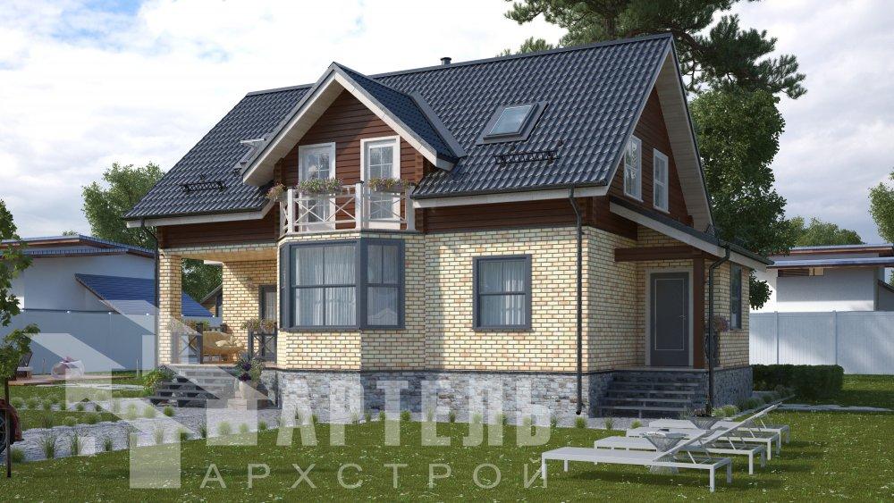 двухэтажный дом омбинированные дома площадью от 150 до 200 кв. м., проект Вариант 12.8В Комбинированный фотография 5307