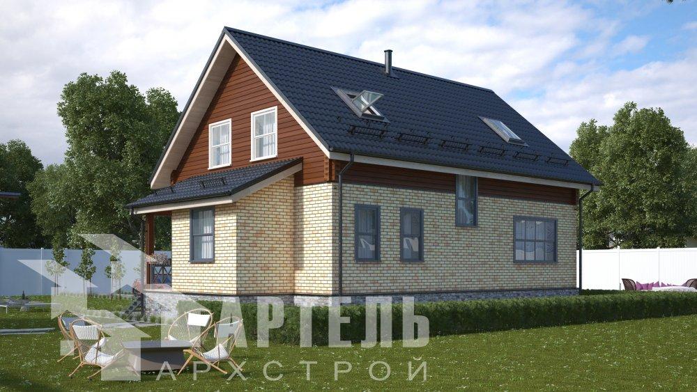 двухэтажный дом омбинированные дома площадью от 150 до 200 кв. м., проект Вариант 12.8В Комбинированный фотография 5308