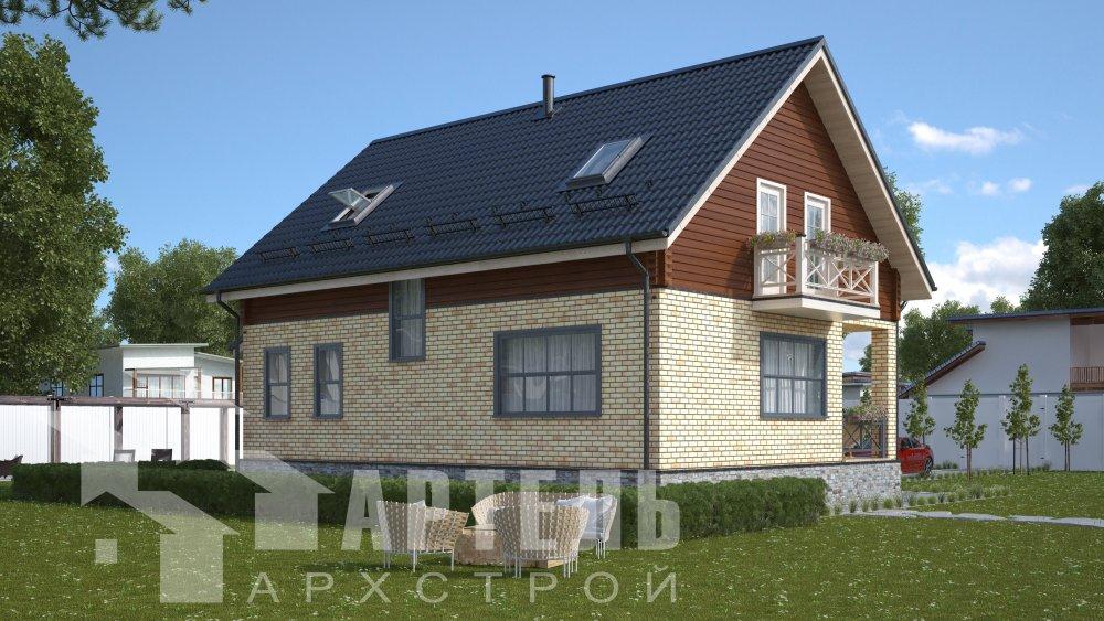 двухэтажный дом омбинированные дома площадью от 150 до 200 кв. м., проект Вариант 12.8В Камень и Комбинированный фотография 5309