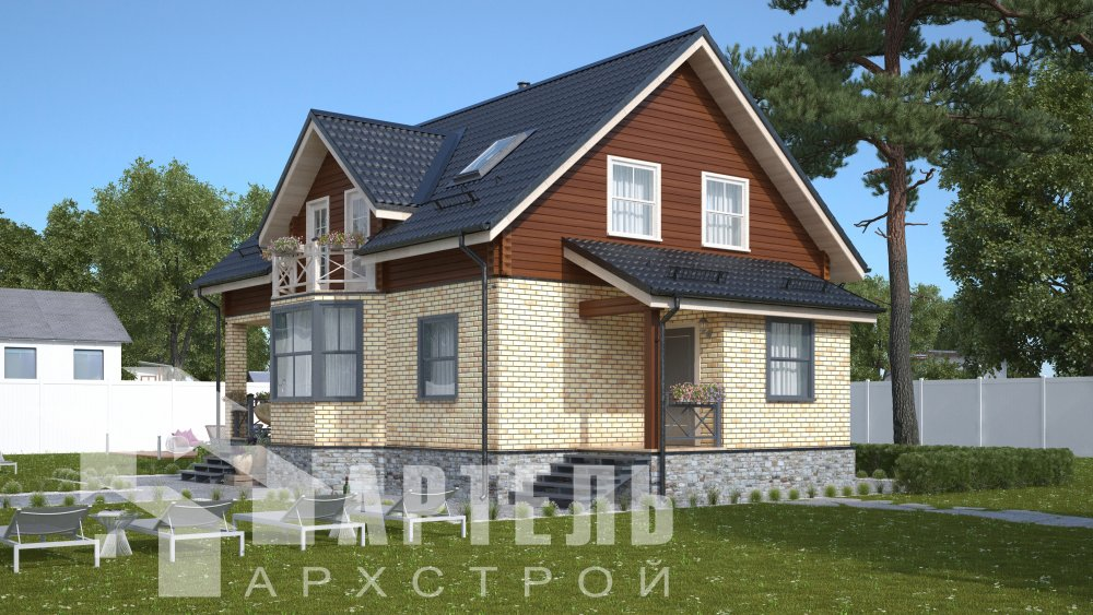двухэтажный дом омбинированные дома площадью от 150 до 200 кв. м., проект Вариант 12.8В Комбинированный фотография 5310
