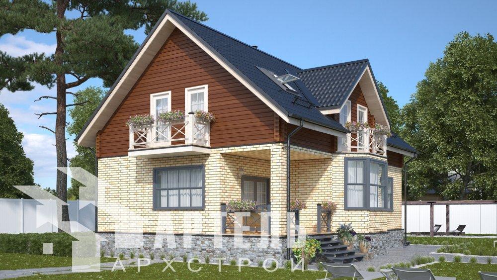 двухэтажный дом омбинированные дома площадью от 150 до 200 кв. м., проект Вариант 12.8В Комбинированный фотография 5311