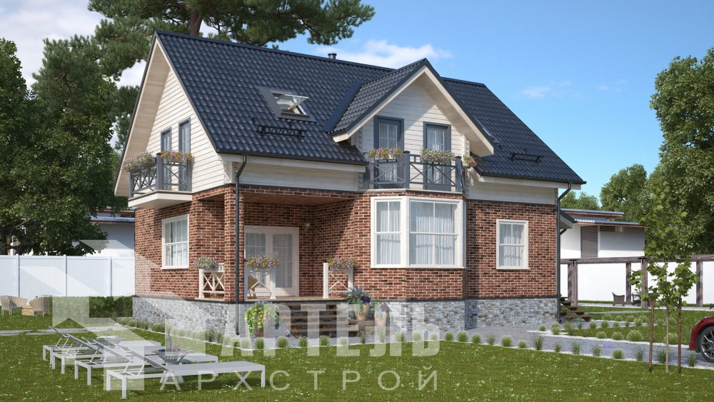 двухэтажный дом омбинированные дома площадью от 150 до 200 кв. м., проект Вариант 12.8В Камень и Комбинированный фотография 5312