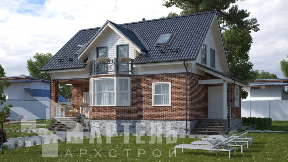 двухэтажный дом омбинированные дома площадью от 150 до 200 кв. м., проект Вариант 12.8В Камень и Комбинированный фотография 5313