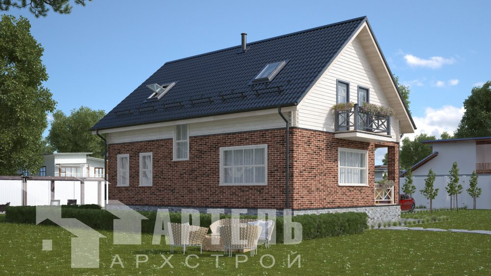 двухэтажный дом омбинированные дома площадью от 150 до 200 кв. м., проект Вариант 12.8В Камень и Комбинированный фотография 5315