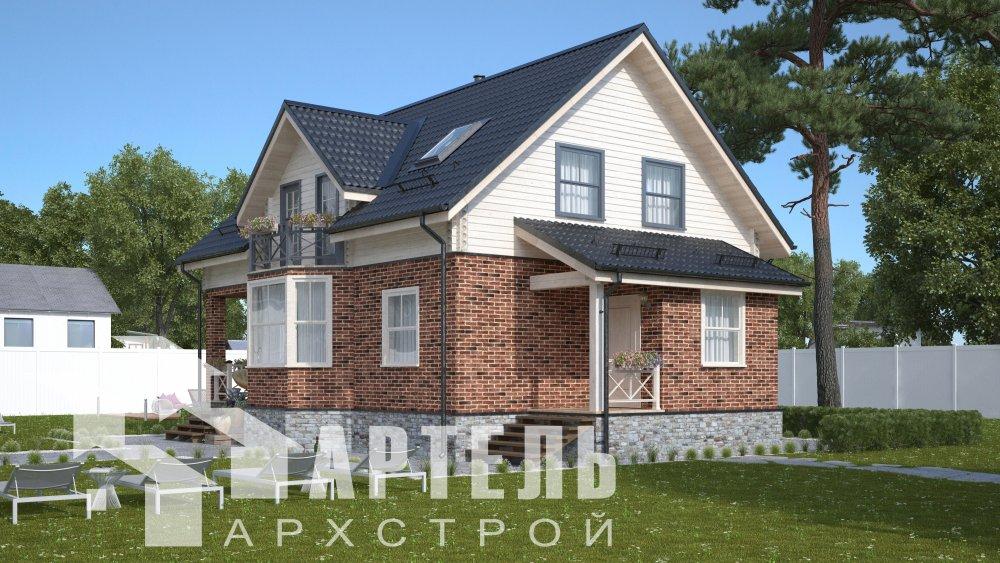 двухэтажный дом омбинированные дома площадью от 150 до 200 кв. м., проект Вариант 12.8В Комбинированный фотография 5316