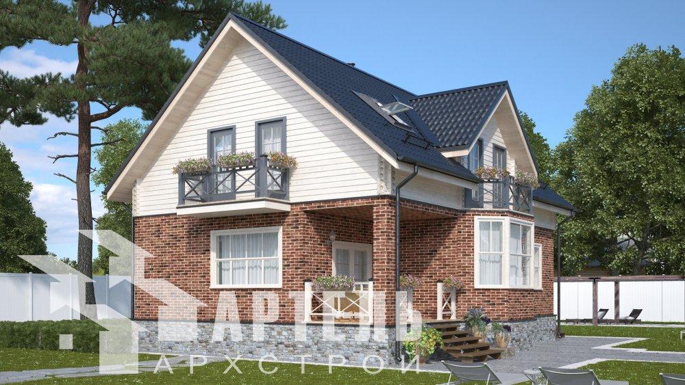 двухэтажный дом омбинированные дома площадью от 150 до 200 кв. м., проект Вариант 12.8В Комбинированный фотография 5317