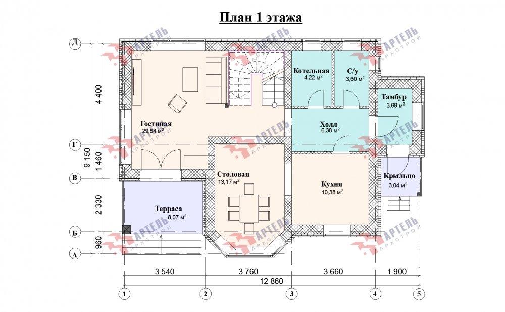 двухэтажный дом омбинированные дома площадью от 150 до 200 кв. м., проект Вариант 12.8В Комбинированный фотография 5325