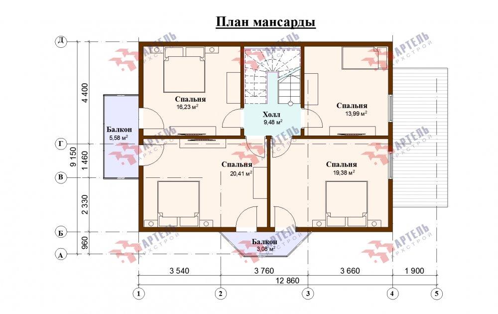 двухэтажный дом омбинированные дома площадью от 150 до 200 кв. м., проект Вариант 12.8В Камень и Комбинированный фотография 5326